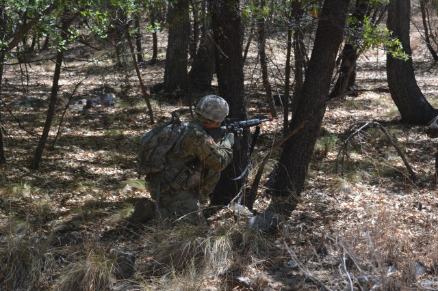 A Soldier from the 101st Airborne Division (Air Assault) participates in the dense vegetation portion of the Rifleman Radio excursion that was held at the United States Army Electronic Proving Ground, Fort Huachuca, Ariz. May 16-26. The Rifleman Radio is a lightweight, hand-held radio that transmits voice and data past terrain obstacles by creating a mesh network via the Soldier Radio Waveform.
