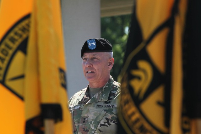 Maj. Gen. Christopher Hughes, commander of U.S. Army Cadet Command and Fort Knox, addresses the crowd during the Reserve Officers' Training Corps Centennial Celebration Ceremony at Fort Knox June 10.