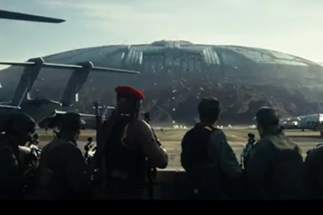 """A scene from the new television commercial """"The U.S. Army: A Source of Inspiration"""" shows Soldiers preparing to attack a spacecraft. The new ad is part of a campaign running in conjunction with a promotional period for the film """"Independence Day - Resurgence."""""""