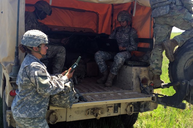 Members of an Expeditionary Cyber Electromagnetic Activities Team execute electronic warfare and cyber effects against elements of the 1st Armored Brigade Combat Team, 1st Infantry Division, during a brigade situational training exercise event at Fort Riley, Kansas. The ECT participated in the STX events in late April and early May as part of the brigade's preparation for a training rotation at the National Training Center at Fort Irwin, Calif., in late July and early August.