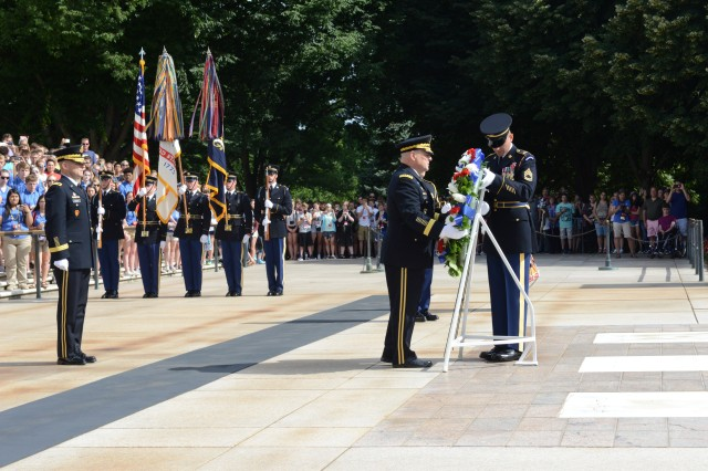 U.S. Army Chief of Staff Gen. Mark A. Milley lays a wreath at the Tomb of the Unknown Soldier during an Army Full Honors Wreath-Laying Ceremony in Arlington National Cemetery June 14, 2016 in honor of the Army's 241st birthday.