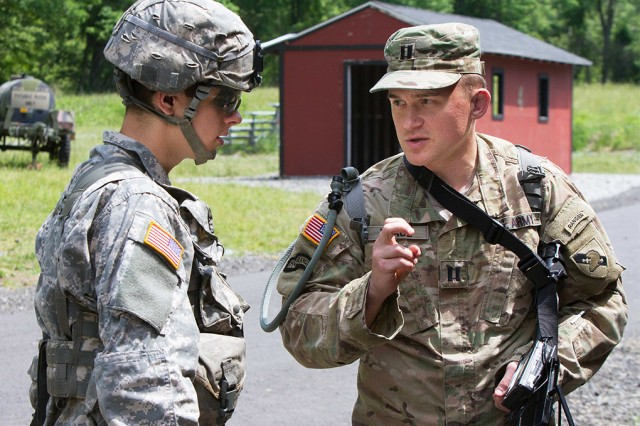Capt. Frederick Waage, a research scientist assigned to the Army Cyber Institute, explains the drone gun to a Cadet during Cadet Leader Development Training at West Point June 2 (U.S. Army photo by Michelle Eberhart, USMA West Point Public Affairs/released.)