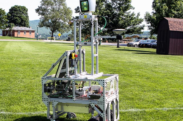 The autonomous robot vehicle uses LIDAR, or Light Detection and Ranging system, a remote-sensing device that uses lasers to measure and map the distance of the targets as well as the characteristics of obstacles in its path. Laser light illuminates objects and the analyses of that light yields a high resolution digital map (U.S. Army photo by Kathy Eastwood, USMA West Point Public Affairs/released.)