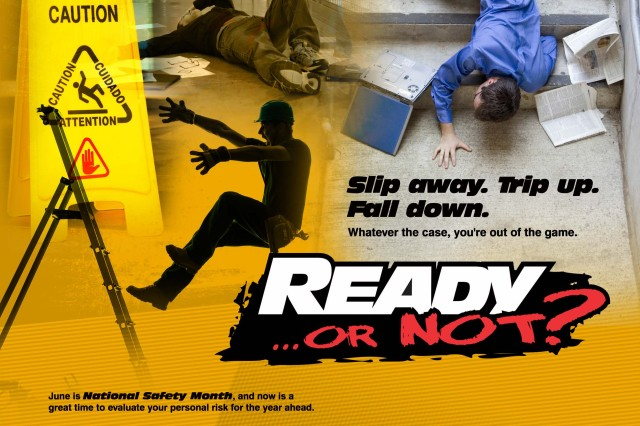 The USACRC has developed several slips, trips and falls tools, including a training support package, to assist with injury reduction efforts. This package contains an entertaining training video, lesson plan, training presentation, briefing template for site-specific edits or additions, posters and supporting reference materials. It and other updated resources are available at https://safety.army.mil. USACRC graphic design