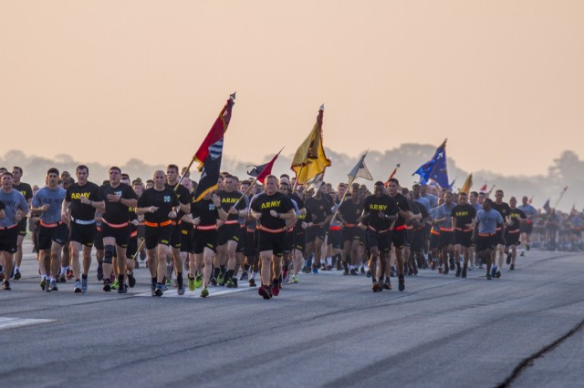 Soldiers from 3rd Combat Aviation Brigade, 3rd Infantry Division earn their Army Birthday cake with a 4 mile run on Hunter Army Airfield June 14. The run was in celebration of the Army's 241 years of selfless service to the nation.  U.S. Army photo by Spc. Scott Lindblom