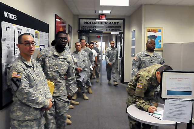 Soldiers line up at the Transportation Division Personnel Services Branch, LRC-Hood. One major service of the branch is the shipment of personal property. (Photo by Jon Micheal Connor, ASC Public Affairs)