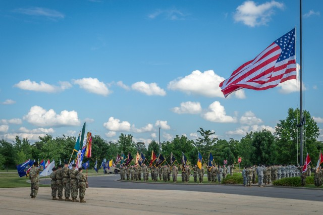 Soldiers and guests participate in the retreat ceremony.