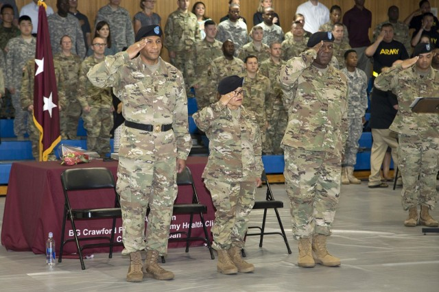 MEDDAC-Japan welcomed incoming commander, Col. Andre R. Pippen, while saying farewell to outgoing commander, Col. Thirsa Martinez, during a change of command ceremony held June 16 inside the Yano Fitness Center's gym on the Camp Zama installation. (U.S. Army photos by Kiyoshi Tokeshi)