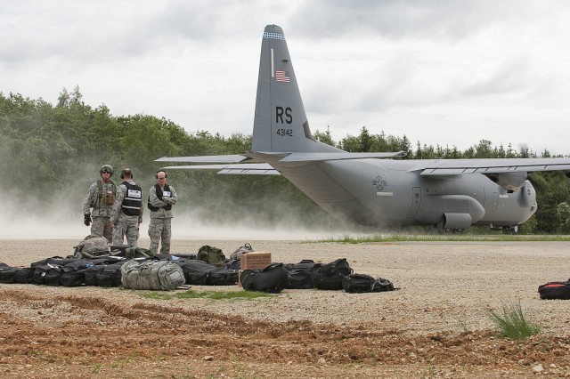 A C-130 aircraft prepares to take off after delivering equipment and supplies as part of Exercise Swift Response 16 in Hohenfels, Germany, June 16, 2016. Exercise Swift Response is one of the premier military crisis response training events for multi-national airborne forces in the world. The exercise is designed to enhance the readiness of the combat core of the U.S. Global Response Force -- currently the 82nd Airborne Division's 1st Brigade Combat Team -- to conduct rapid-response, joint-forcible entry and follow-on operations alongside Allied high-readiness forces in Europe. Swift Response 16 includes more than 5,000 Soldiers and Airmen from Belgium, France, Germany, Great Britain, Italy, the Netherlands, Poland, Portugal, Spain and the United States and takes place in Poland and Germany, May 27-June 26, 2016.(U.S. Army National Guard Photo by Sgt. Michael Giles)