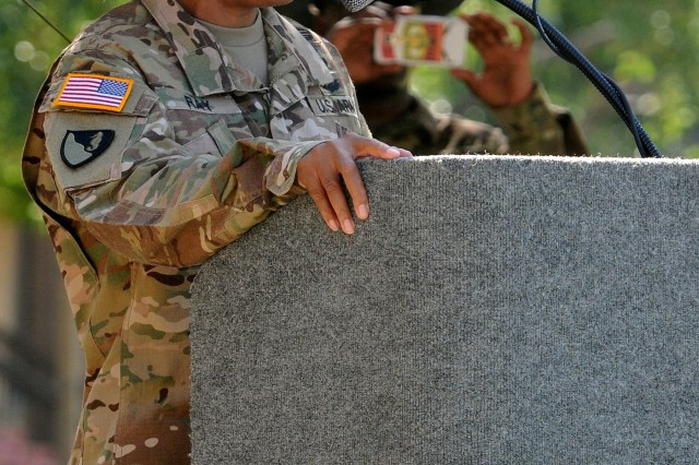 "Lt. Col. Lynn Ray, the Regimental Engineer Squadron ""Pioneer,"" 3rd Cavalry Regiment, commander speaks at the first birthday ceremony for the new unit June 16 at Fort Hood, Texas. (Photo by Spc. Erik Warren, 3rd Cav. Regt. Public Affairs)"
