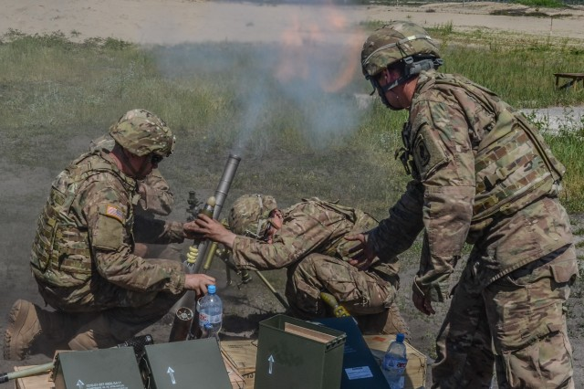 Soldiers from A Troop, 1st Squadron, 91st Cavalry Regiment  fire a 60mm Mortar during a live fire exercise, June 8, 2016, as part of Exercise Anakonda 16.  Exercise Anakonda 16 is a Polish-led joint multinational exercise that brings together 24 allies and partner nations to test the ability and readiness of the Polish Armed forces with allies and partners.