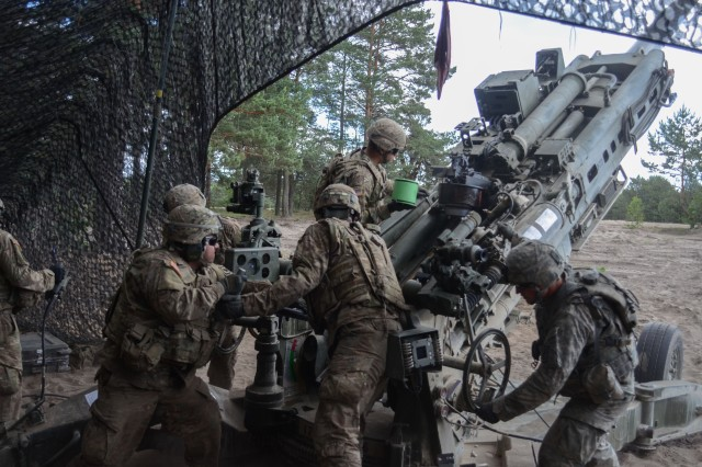 Soldiers from the 4th Battalion 319th Airborne Field Artillery Regiment, 173rd Airborne Brigade load a 155mm artillery round for a M777 Howitzer for Exercise Anakonda, June 6, 2016, Nowa Deba, Poland. Exercise Anakonda 16 is a Polish-led joint multinational exercise that brings together 24 allies and partner nations to test the ability and readiness of the Polish Armed forces with allies and partners.