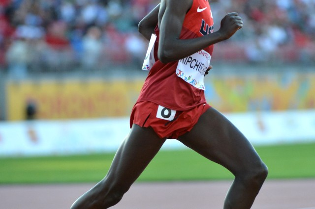 Spc. Shadrack Kipchirchir, seen here running at the 2015 Pan American Games in Toronto, is scheduled to run both the 10,000 meters and the 5,000 meters at the 2016 U.S. Olympic Track & Field Trials, set for July 1-10 at Hayward Field in Eugene, Oregon. U.S. Army photo by Tim Hipps, IMCOM Public Affairs