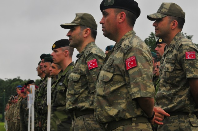 Soldiers from thirteen different countries form-up for the opening ceremony of Rapid Trident 16, June 27, in Ukraine. Exercise Rapid Trident is an annual multinational training exercise series held in Ukraine. It is designed to enhance joint combined interoperability between Ukraine, the United States, NATO allies, and other Partnership for Peace nations.