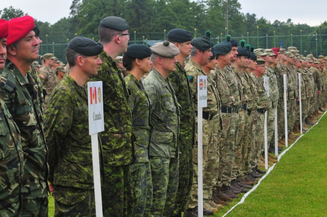 Soldiers from 13 different countries form-up for the opening ceremony of Rapid Trident 16 here, June 27, in Ukraine. Exercise Rapid Trident is an annual multinational training exercise series held in Ukraine. It is designed to enhance joint combined interoperability between Ukraine, the United States, NATO allies, and other Partnership for Peace nations.