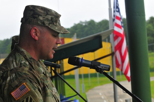 Col. Nick Ducich, co-director of Rapid Trident 16, gives remarks at the opening ceremony of the annual exercise, June 27, in Ukraine. Exercise Rapid Trident is an annual multinational training exercise series held in Ukraine. It is designed to enhance joint combined interoperability between Ukraine, the United States, NATO allies, and other Partnership for Peace nations.