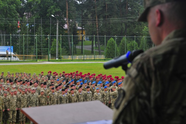 Col. Nick Ducich, co-director of Rapid Trident 16, gives remarks at the opening ceremony of the annual exercise here June 27th. Exercise Rapid Trident is an annual multinational training exercise series held in Ukraine. It is designed to enhance joint combined interoperability between Ukraine, the United States, NATO allies, and other Partnership for Peace nations.