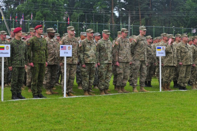 U.S. Soldiers along with Soldiers from twelve other countries form-up for the opening ceremony of Rapid Trident 16, June 27, in Ukraine. Exercise Rapid Trident is an annual multinational training exercise series held in Ukraine. It is designed to enhance joint combined interoperability between Ukraine, the United States, NATO allies, and other Partnership for Peace nations.
