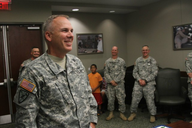 Brig. Gen. David Glaser, chief of staff, United States Army Central, thanks the soldiers who threw a surprise birthday party in his honor. Glaser, who has been chief of staff at USARCENT since November 2014, reflected on his past 19 months at arguably one of the busiest Army Service Component Commands.