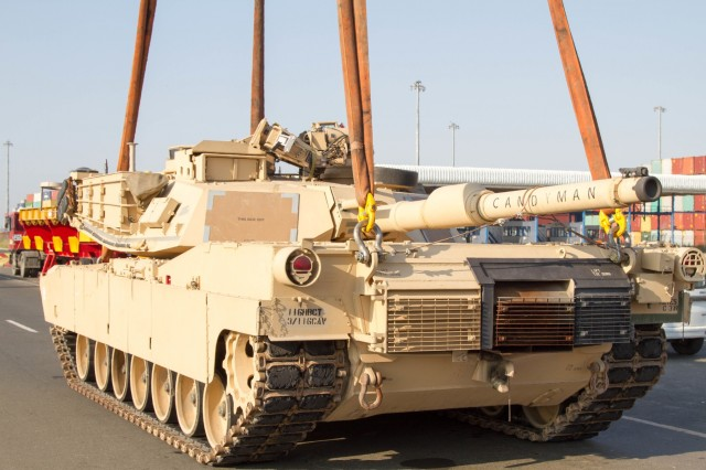M1A2s arrive at the Port of Constanta