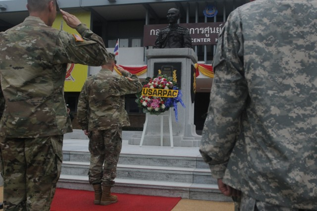 Soldiers from 2nd Stryker Brigade Combat Team, 2nd Infantry Division participate in a wreath-laying ceremony at Fort Adisorn, Thailand on June 27th, 2016 prior to the Hanuman Guardian opening ceremony. Hanuman Guardian is a joint U.S. - Thai exercise focused on military interoperability while providing disaster relief. (U.S. Army Photo by Maj. Pinkie Fischer)