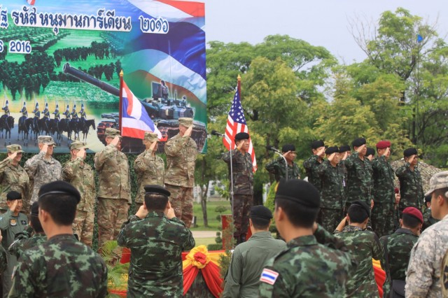 Brig. Gen. Brian Alvin, Deputy Commanding Gereral, U.S. Army Reserve and Lt. Gen. Thakonkiat Nuanyong, Director General of the Royal Thai Army Training Command address a U.S.-Thai formation at Fort Adisorn, Thailand on June 27th, 2016 prior to beginning Hanuman Guardian, part of Pacific Pathways. Hanuman Guardian is a joint U.S. - Thai exercise focused on military interoperability while providing disaster relief. (U.S. Army Photo by Capt. Paul Alexander)