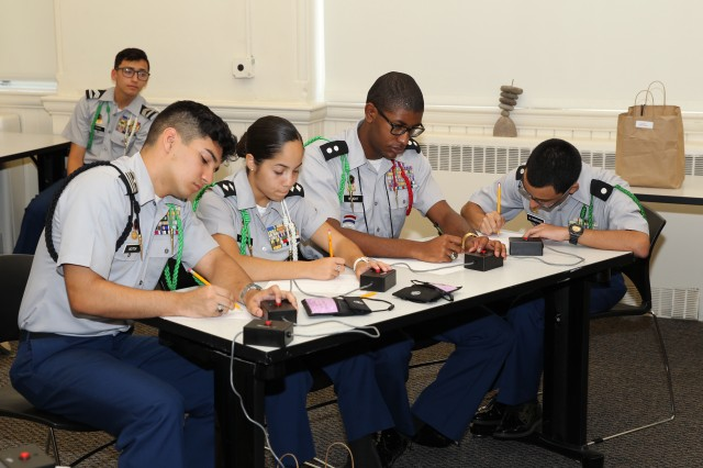 Cadets from Everglades High School, Miramar, Fla., compete in an academic challenge during JROTC Leadership and Academic Bowl (JLAB) at The Catholic University of America, Washington, D.C., June 26.