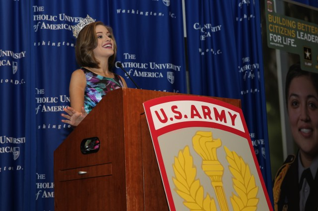 Miss America 2016 Betty Cantrell welcomes Cadets to the JROTC Leadership and Academic Bowl (JLAB) at The Catholic University of America, Washington, DC, June 24. Cadets from across the services and across the world are competing in various events as a part of the annual JLAB competition.