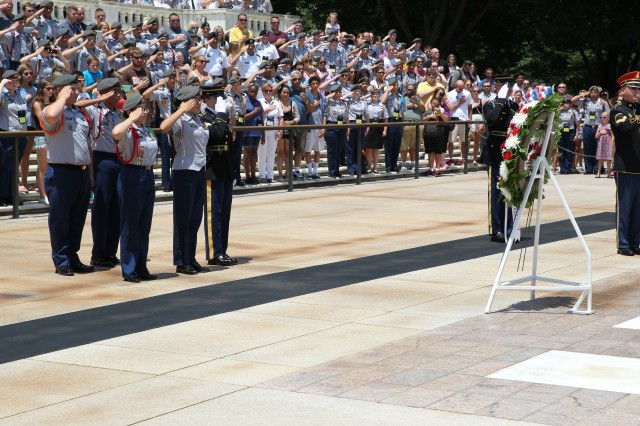 Junior Reserve Officers' Training Corps Cadets attending the JROTC Leadership and Academic Bowl (JLAB) at The Catholic University of America, Washington, DC, take part in a special wreath laying ceremony at the Tomb of the Unknown Soldier June 26.