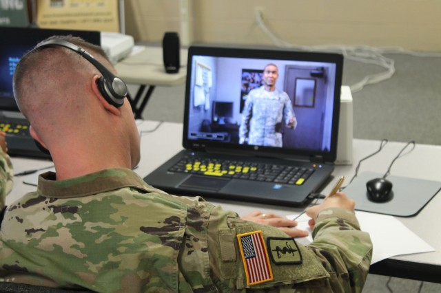 Fort Jackson SHARP specialists interact with new virtual training program designed to train new command teams on SHARP during elite training on June 22. The program uses realism to give command teams a better understanding of how to make the best decisions in sexual harassment incidents.