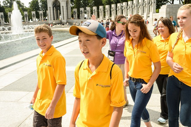 "eCYBERMISSION national finalists tour Washington during their week-long stay near the nation's capitol.  ""Power Play,"" an eighth grade STEM-in-Action award winner from Troy Howard Middle School in Belfast, Maine, enjoy the scene at the World War II Memorial. Team members are Vincent Bonarrigo, Joshua Chun, Sydni Moores and Grace Fitzjuris.  Team advisor is Elizabeth Haynes."