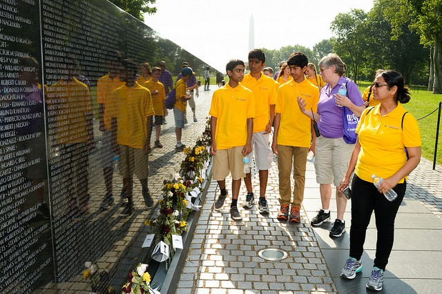 During their visit to Washington, eCYBERMISSION national finalists visited the Vietnam Memorial near the Capitol Mall.