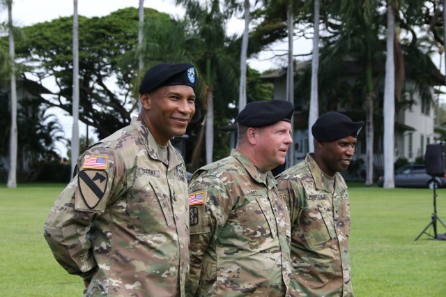 On June 30, 2016, Regional Health Command-Pacific held a change of command ceremony at historic Palm Circle on Fort Shafter, Hawaii, to bid farewell to Maj. Gen. Patrick Sargent and to welcome Brig. Gen. Bertram Providence. Maj. Gen. Robert Tenhet presided over the ceremony.