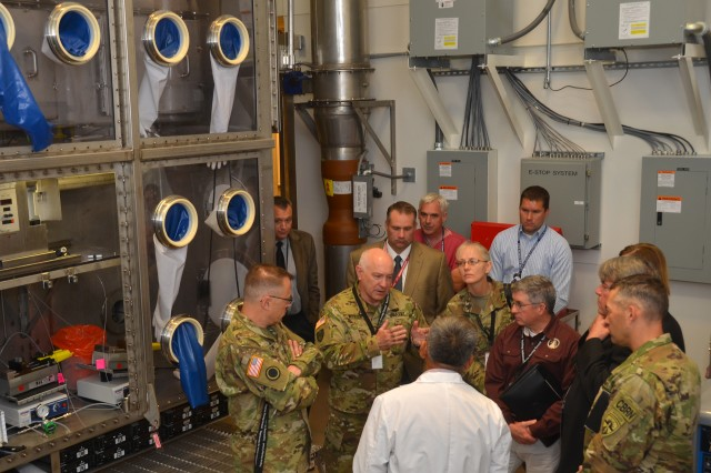 Visiting the facility was Maj. Gen. Brian C. Lein, commanding general, U.S. Army Medical Research and Material Command at Fort Detrick, Md., Dr. August W. Fountain acting director of research and technology, Edgewood Chemical and Biological Center and Col. Neal C. Wollen, director of biosecurity, U.S. Army Medical Research Institute of Infectious Diseases. The on-site visit was a chance for the executive leadership to become familiar with the facility they will soon inherit. It was also an opportunity for Dugway leaders to ask questions about their vision and changes for the operations of the Life Sciences facility. (Photo by Bonnie A. Robinson, Dugway Public Affairs.)