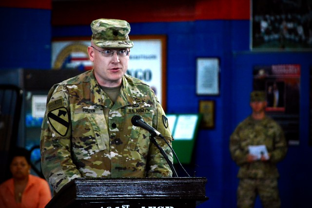 Lt. Col. Russell Foster, outgoing commander, 401st Army Field Support Battalion-Kuwait, speaks during a change of command ceremony for the 401st AFSBn-Kuwait at Camp Arifjan, Kuwait, July 1. (U.S. Army Photo by Justin Graff, 401st AFSB Public Affairs)