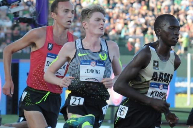 Spc. Leonard Korir races at the 2016 U.S. Olympic Team Trials - Track & Field, held July 1, 2016, in Eugene, Oregon.