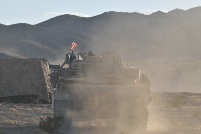 Soldiers with the 2nd Combined Arms Battalion, 136th Infantry, 1/34th ABCT, during National Training Center rotation 16-07 at Fort Irwin, California. (Minnesota National Guard photo by Capt. Kevin Cronen)