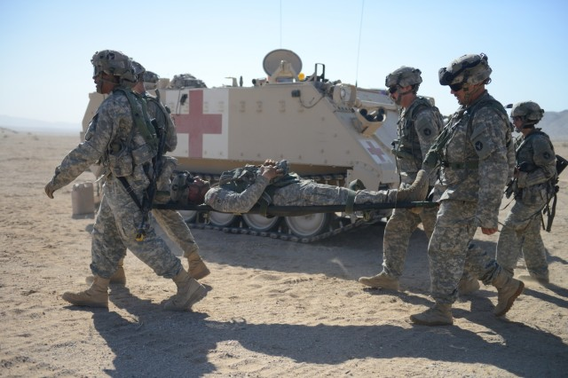 Soldiers with the 1st Armored Brigade Combat Team, 34th Infantry Division, during National Training Center rotation 16-07 at Fort Irwin, California. (Minnesota National Guard photo by Sgt. Linsey Williams)