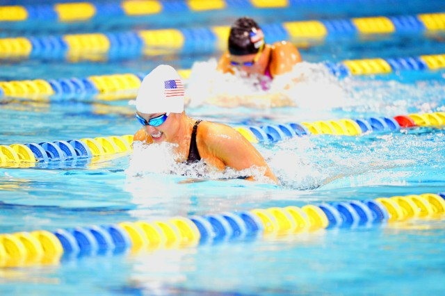 Sgt. Elizabeth Marks of the U.S. Army World Class Athlete Program wins the women's 100-meter breaststroke with a time of 1 minute, 28.54 seconds - only .01 seconds off the world record of 1:28.53 in her classification - in the 2016 U.S. Paralympic Swimming Team Trials on June 30 at the Mecklenburg County Aquatic Center in Charlotte, N.C.