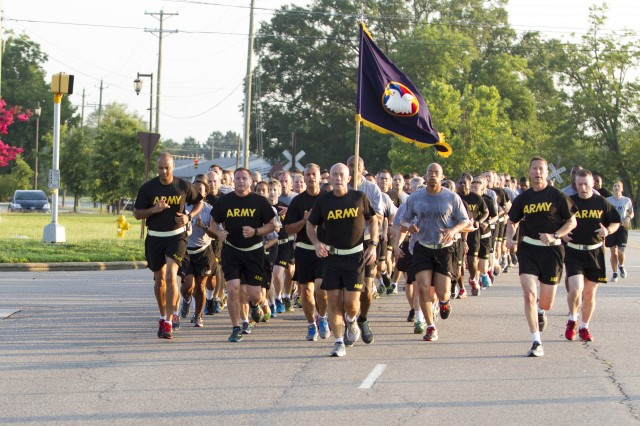 LTG Charles D. Luckey, the 33rd Chief of Army Reserve and 8th Commanding General U.S. Army Reserve Command, leads Soldiers assigned to Headquarters and Headquarter Company, USARC, on an early-morning run around North Post on Fort Bragg, N.C., on July 6, 2016. After the run, Luckey spent several minutes talking to Soldiers and closed out the formation with the Soldiers' Creed. Luckey was sworn in June 30, 2016 as the senior leader for nearly 200,000 Army Reserve Soldiers across all 50 states and U.S. territories. (Army Photo by Master Sgt. Mark Bell / Released)