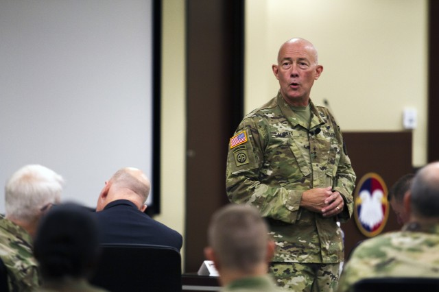 Lt. Gen. Charles D. Luckey, the 33rd Chief of Army Reserve and 8th Commanding General U.S. Army Reserve Command, talks with Soldiers and civilians assigned to USARC headquarters at Marshall Hall located on Fort Bragg, N.C., on July 5, 2016. Luckey was sworn in June 30, 2016 as the senior leader for nearly 200,000 Army Reserve Soldiers across all 50 states and U.S. territories. Luckey spent the day visiting with USARC staff during two town hall-style meetings and a walkthrough of the USARC headquarters building. (Army Photo by Master Sgt. Mark Bell / Released)