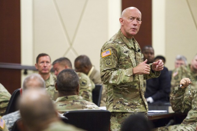 LTG Charles D. Luckey, the 33rd Chief of Army Reserve and 8th Commanding General U.S. Army Reserve Command, talks with Soldiers and civilians assigned to USARC headquarters at Marshall Hall located on Fort Bragg, N.C., on July 5, 2016. Luckey was sworn in June 30, 2016 as the senior leader for nearly 200,000 Army Reserve Soldiers across all 50 states and U.S. territories.  (Army Photo by Master Sgt. Mark Bell / Released)