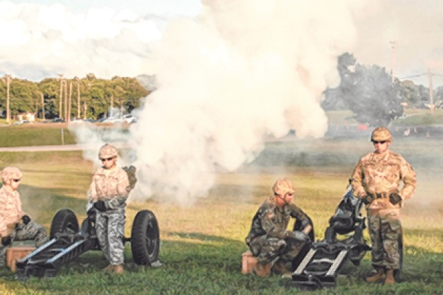 Soldiers conduct a 50-gun salute to the Union following remarks from Maj. Gen. Kent Savre, Maneuver Support Center of Excellence and Fort Leonard Wood commanding general.