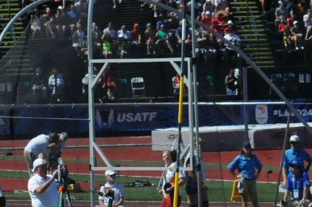 Army 2nd Lt. Sam Kendricks competes in the preliminary round of the men's pole vault on July 2, 2016, at the U.S. Olympic track and field trials in Eugene, Oregon. He placed in the prelims and went on to secure a spot on the U.S. Olympic team during the finals.