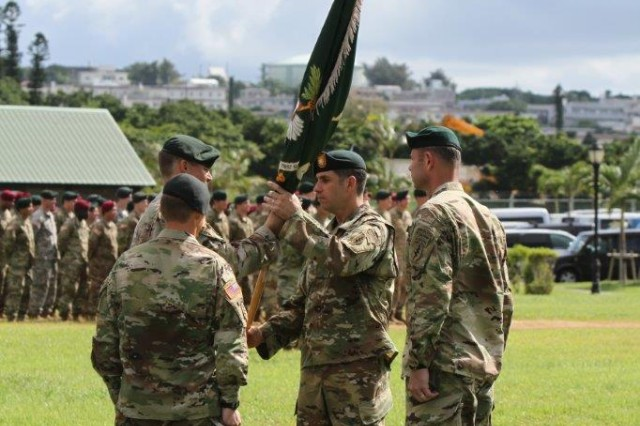 The Battalion's colors were handed over by outgoing commander Lt. Col. Joshe Raetz to Lt. Col. Ryan Armstrong during the ceremony which is rich in tradition and rife with symbolism. The guidon represents the lineage of the unit as well as the commander's symbol of authority. Wherever the guidon is, the commander is nearby.
