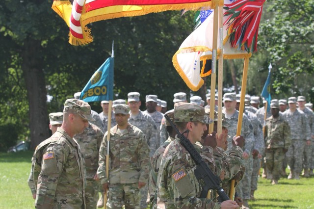 KAISERSLAUTERN, Germany- The color guard marches during pass in review during the 7th Mission Support Command's change of command ceremony. The 7th MSC welcomed the new commander Brig. Gen. Steven W. Ainsworth in a review parade during the ceremony held at NCO Parade Field at Daenner Kaserne on July 9, 2016. (U.S. Army photo by Sgt. Daniel J. Friedberg, 7th Mission Support Command Public Affairs Office)