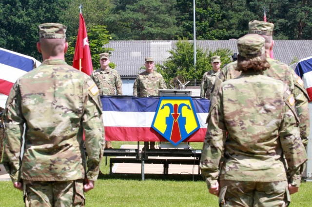 KAISERSLAUTERN, Germany- Maj. Gen. Duane A. Gamble (left), commander of the 21st Theater Support Command, joins the new commander of the 7th Mission Support Command, Brig. Gen. Steven W. Ainsworth (center) and the outgoing commander of the 7th MSC, Brig. Gen. Arlan M. DeBlieck (right) in relieving the unit at the conclusion of the change of command ceremony held at NCO Parade Field at Daenner Kaserne on July 9, 2016. (U.S. Army photo by Sgt. Daniel J. Friedberg, 7th Mission Support Command Public Affairs Office)