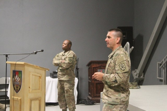 Command Sgt. Maj. Ciearro Faulk (left), with the 518th Resolute Support Sustainment Brigade, and Command Sgt. Maj. Dennis J. Thomas (right), with the 451st Expeditionary Sustainment Command, address the soldiers concerns during the 518th RSSB enlisted town hall meeting June 30, 2016 at Bagram Airfield, Afghanistan.