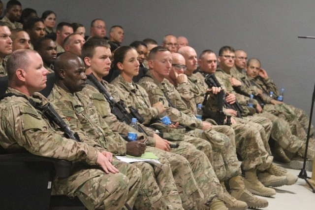 Soldiers with the 518th Resolute Support Sustainment Brigade attend the enlisted town hall meeting June 30, 2016 at Bagram, Afghanistan. Soldiers addressed their concerns about professional development, promotions and uniform standards.