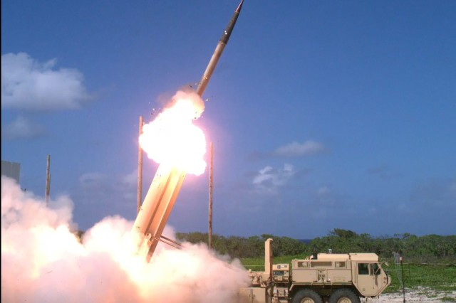 A Terminal High Altitude Area Defense, or THAAD interceptor is launched from a THAAD battery located on Wake Island, during Flight Test Operational, FTO-02 Event 2a, conducted Nov. 1, 2015. During the test, the THAAD system successfully intercepted two air-launched ballistic missile targets.